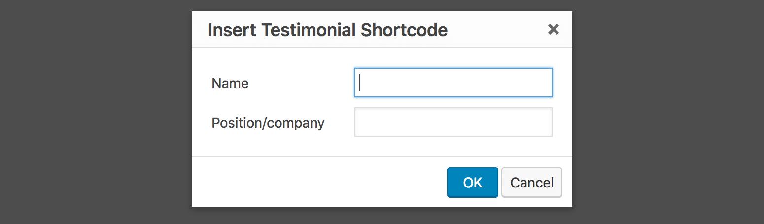 Insert Testimonial Shortcode